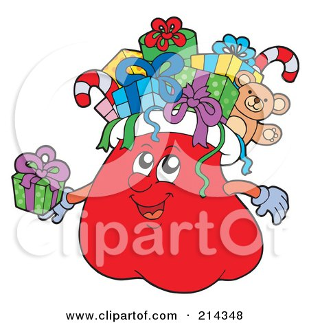 Royalty-Free (RF) Clipart Illustration of a Santa Sack Character With Gifts by visekart