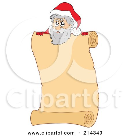 Royalty-Free (RF) Clipart Illustration of a Santa Scroll Sign - 2 by visekart