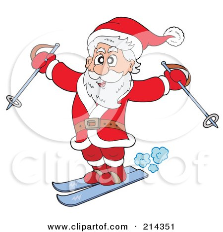 Royalty-Free (RF) Clipart Illustration of Santa Skiing With Poles by visekart