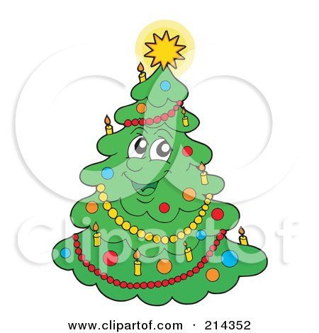 Royalty-Free (RF) Clipart Illustration of a Christmas Tree Character With A Shining Star - 1 by visekart