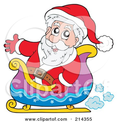 Royalty-Free (RF) Clipart Illustration of Santa Waving And Riding In A Sleigh by visekart