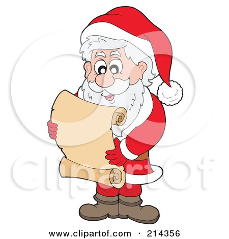 Royalty-Free (RF) Clipart Illustration of Santa Reading A Blank Scroll by visekart