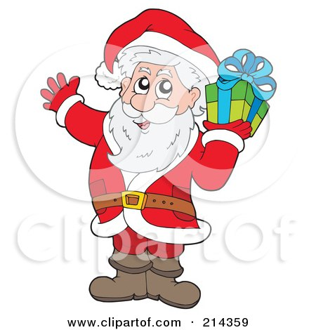 Royalty-Free (RF) Clipart Illustration of Santa Carrying A Green Gift by visekart