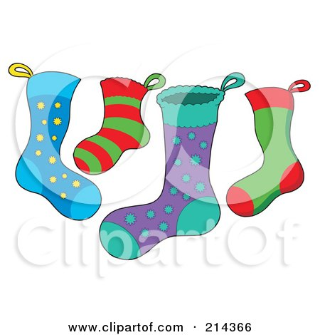 Royalty-Free (RF) Clipart Illustration of a Digital Collage Of Christmas Stockings by visekart