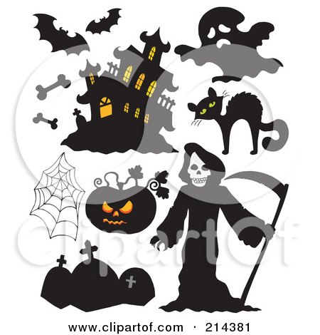 Royalty-Free (RF) Clipart Illustration of a Digital Collage Of Halloween Items - 6 by visekart