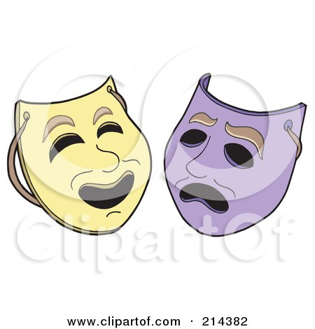 Royalty-Free (RF) Clipart Illustration of a Digital Collage Of Theater Masks by visekart