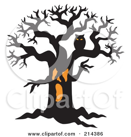 Royalty-Free (RF) Clipart Illustration of an Orange And Black Owl In A Scary Tree by visekart