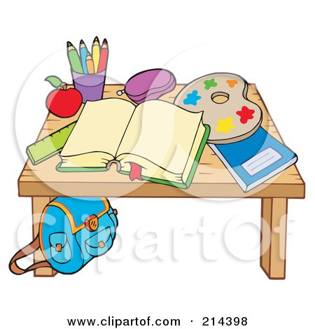 Royalty-Free (RF) Clipart Illustration of an Open Book And Art Supplies On A Desk by visekart