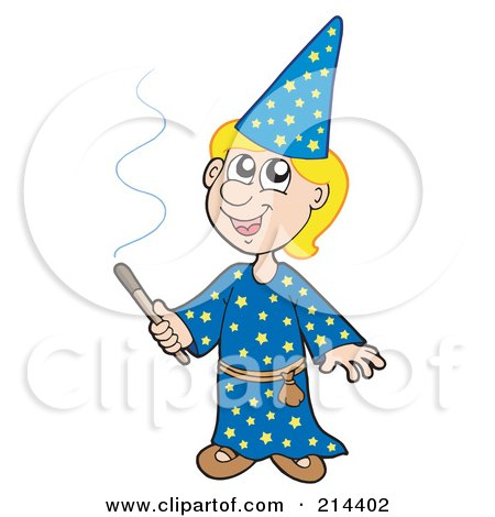 Royalty-Free (RF) Clipart Illustration of a Blond Wizard Boy Using A Magic Wand by visekart
