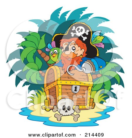 Royalty-Free (RF) Clipart Illustration of a Male Pirate Looking Over A Treasure Chest by visekart