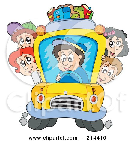 Royalty-Free (RF) Clipart Illustration of a Group Of School Children On A School Bus by visekart