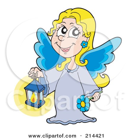 Royalty-Free (RF) Clipart Illustration of a Blond Angel Girl With Blue Wings, Holding A Lantern by visekart
