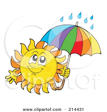 Royalty-Free (RF) Clipart Illustration of a Summer Sun With Rain Under An Umbrella by visekart