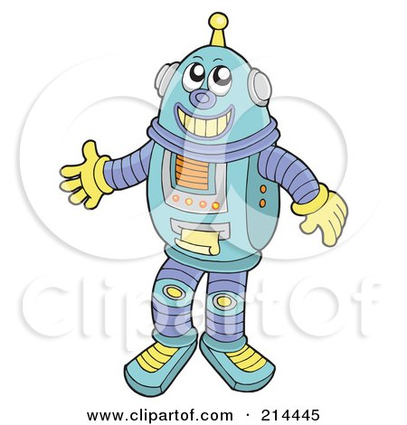 Royalty-Free (RF) Clipart Illustration of a Friendly Robot Smiling by visekart