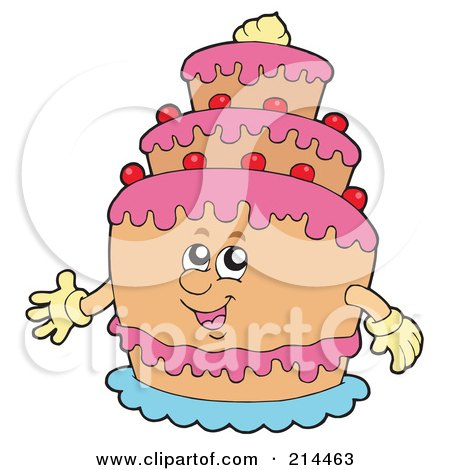 Royalty-free clipart picture of a birthday cake with tiers,