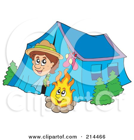 Happy Scout Peeking Out Of His Tent By A Camp Fire Posters, Art Prints
