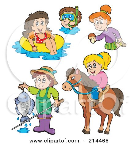 Royalty-Free (RF) Clipart Illustration of a Digital Collage Of Summer Recreation by visekart