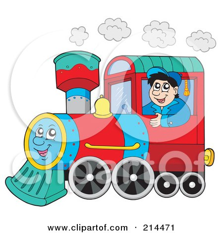 Royalty-Free (RF) Clipart Illustration of a Train Driver Operating A Happy Train by visekart