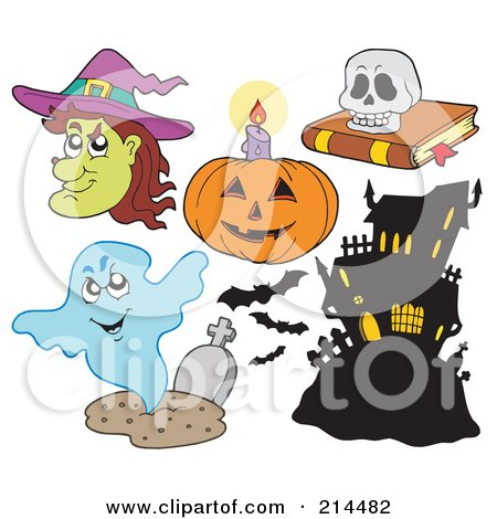 Royalty-Free (RF) Clipart Illustration of a Digital Collage Of Halloween Items - 4 by visekart