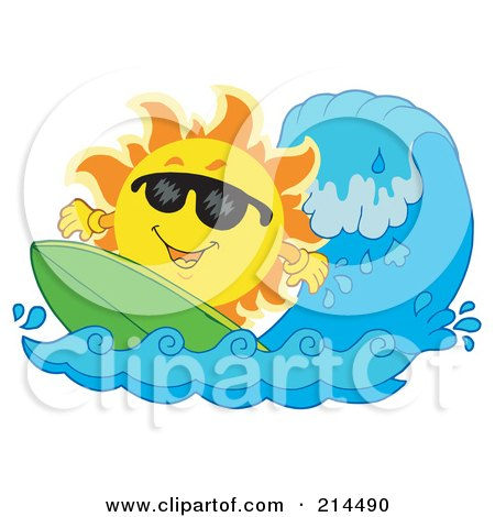 Royalty-Free (RF) Clipart Illustration of a Summer Sun Surfing A Wave by visekart