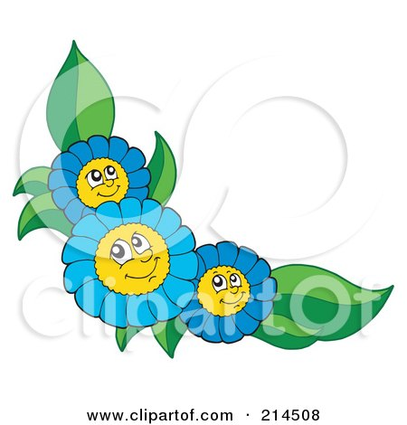Royalty-Free (RF) Clipart Illustration of a Corner Of Happy Blue Flowers by visekart