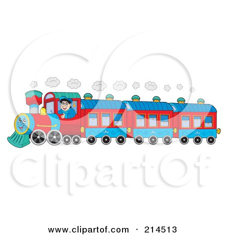 Royalty-Free (RF) Clipart Illustration of a Train Driver On A Happy Train by visekart