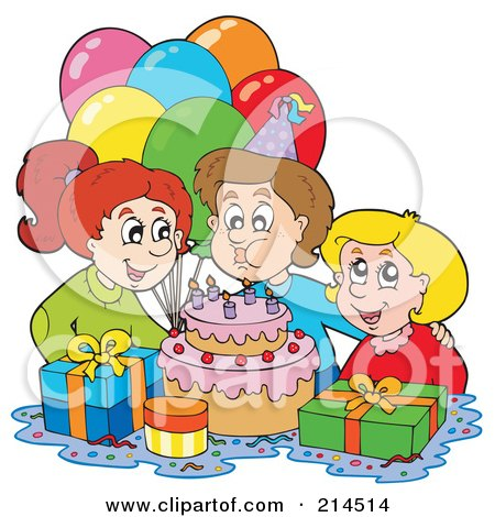 Royalty-Free (RF) Clipart Illustration of a Boy Blowing Out His Birthday Candles by visekart