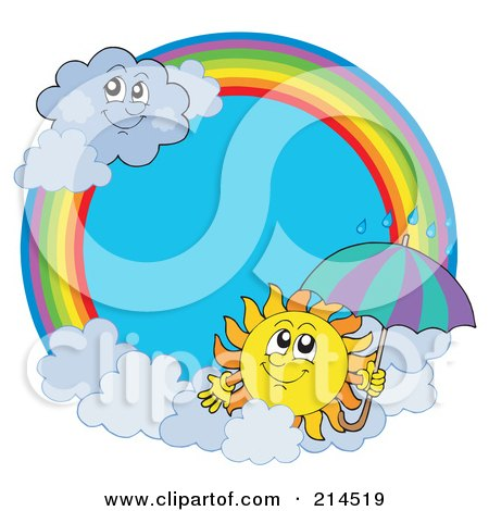 Royalty-Free (RF) Clipart Illustration of a Summer Sun And Rain Cloud Rainbow Circle by visekart