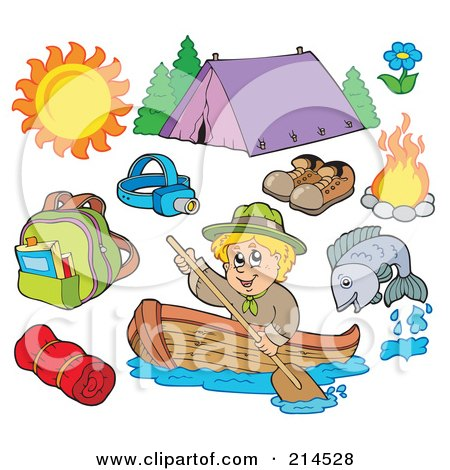 Royalty-Free (RF) Clipart Illustration of a Digital Collage Of Summer Recreation And Camping by visekart