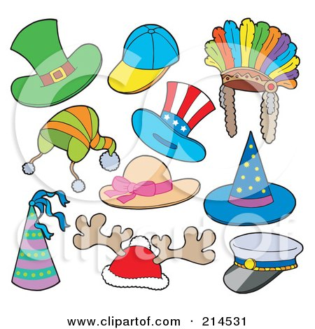 Royalty-Free (RF) Clipart Illustration of a Digital Collage Of Hats - 1 by visekart