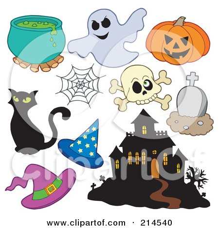 Royalty-Free (RF) Clipart Illustration of a Digital Collage Of Halloween Items - 2 by visekart