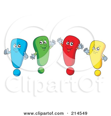 Royalty-Free (RF) Clipart Illustration of a Digital Collage Of Exclamation Points - 1 by visekart