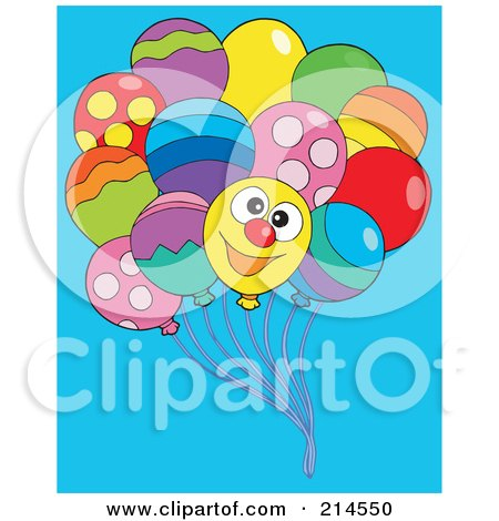 Royalty-Free (RF) Clipart Illustration of a Bundle Of Balloons, One With A Happy Face by visekart
