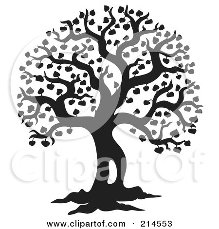 Royalty-Free (RF) Clipart Illustration of a Black And White Silhouetted Leafy Tree Design - 2 by visekart