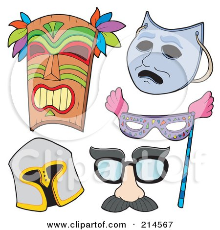 Royalty-Free (RF) Clipart Illustration of a Digital Collage Of Various Masks - 2 by visekart