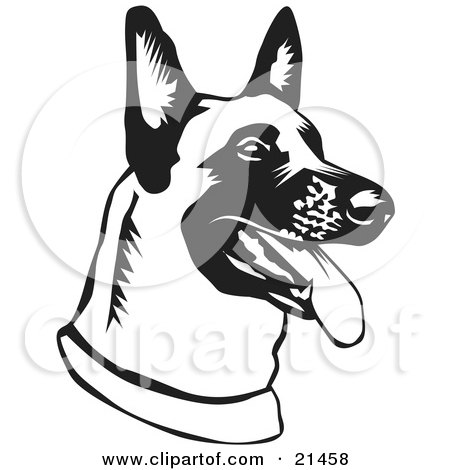Clipart Illustration of a Belgian Shepherd Dog Hanging His Tongue Out While Panting by David Rey