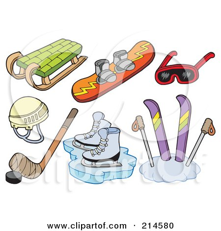 Royalty-Free (RF) Clipart Illustration of a Digital Collage Of Winter Sports Items by visekart