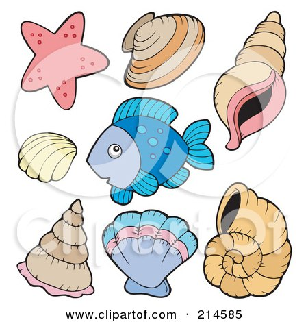 Royalty-Free (RF) Clipart Illustration of a Digital Collage Of Fish And Shells by visekart