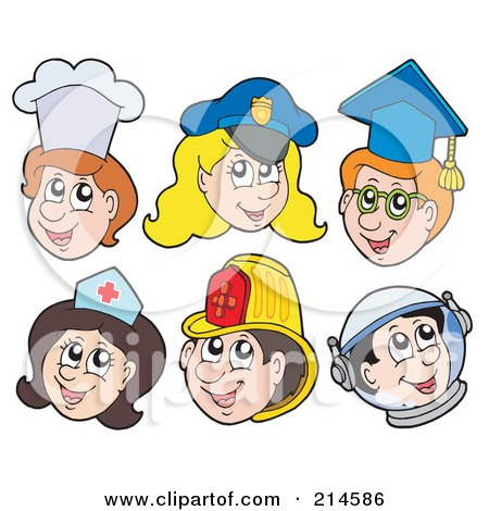 Royalty-Free (RF) Clipart Illustration of a Digital Collage Of Chef, Police, Graduate, Nurse, Firefighter And Astronaut Faces by visekart