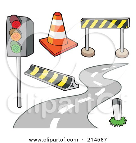 Royalty-Free (RF) Clipart Illustration of a Digital Collage Of Road Items by visekart