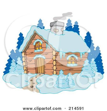 Royalty-Free (RF) Clipart Illustration of Smoke Rising From A Winter Cabin by visekart