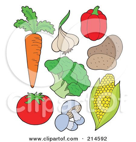 Royalty-Free (RF) Clipart Illustration of a Digital Collage Of Vegetables by visekart