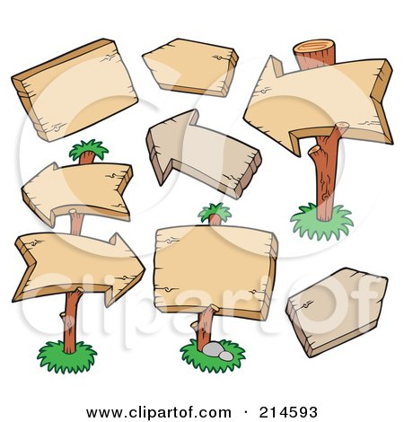 Royalty-Free (RF) Clipart Illustration of a Digital Collage Of Blank Square And Arrow Wooden Signs by visekart