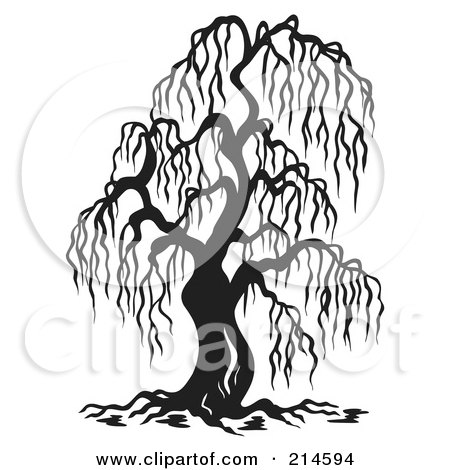 Royalty-Free (RF) Clipart Illustration of a Black And White Bare Willow Tree Design by visekart