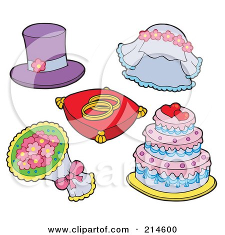 Royalty-Free (RF) Clipart Illustration of a Digital Collage Of Wedding Stuff by visekart
