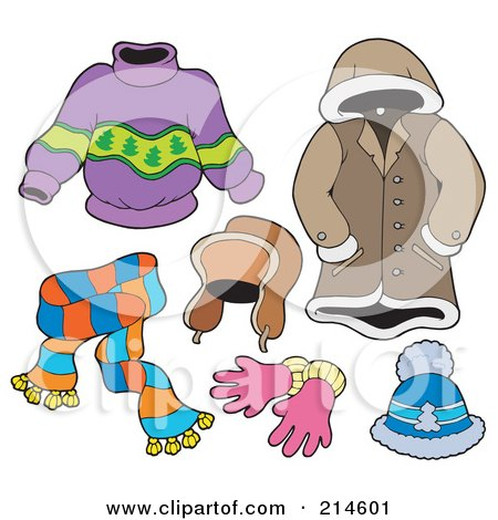 Royalty-Free (RF) Clipart Illustration of a Digital Collage Of Winter Apparel - 1 by visekart