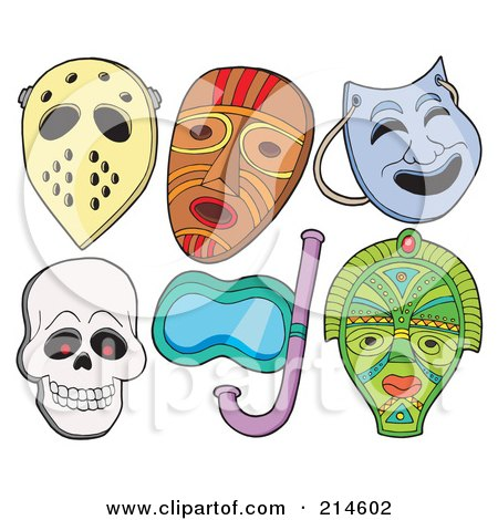 Royalty-Free (RF) Clipart Illustration of a Digital Collage Of Various Masks - 1 by visekart