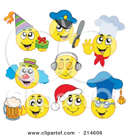 Royalty-Free (RF) Clipart Illustration of a Digital Collage Of Yellow Emoticons - 4 by visekart