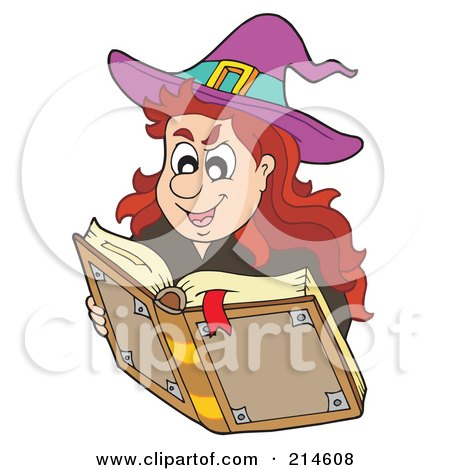 Royalty-Free (RF) Clipart Illustration of a Halloween Witch Looking Up A Spell by visekart