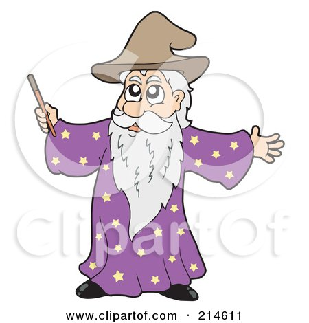 Royalty-Free (RF) Clipart Illustration of a Male Wizard Using His Wand by visekart